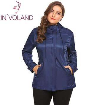 IN'VOLAND Large Size Women Jacket Coat XL-5XL Spring Autumn Casual Hooded Long Sleeve Outwear Lightweight Big Overcoat Plus Size