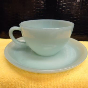 Vintage Fire-King DELPHITE BLUE SAUCER AND COFFEE MUG ANCHOR HOCKING FIRE KING