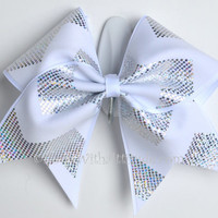 "3"" Wide Luxury Cheer Bow - White w/Silver Chevron"