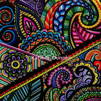 "Rainbow Henna Mehndi Drawing 8""x10"" Print Original Design by Katie N. Dunphy"