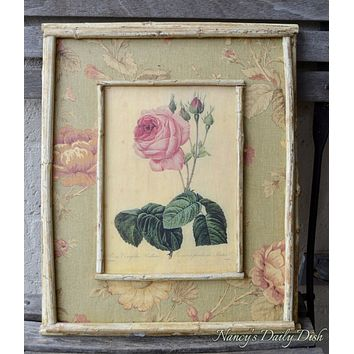 Vintage English Country Rose Print on Board w/ Green Pink Floral Toile & Distressed Bamboo Frame