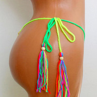 EXTREME MICRO BIKINI Rainbow Dancewear Micro Thong Bikini Fetish Extreme Pole Dance Micro G-string Bikini Scrunch Fetish Hawaii Rainbow