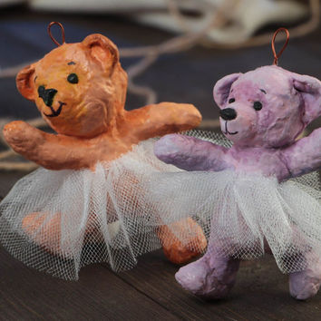 Set of 2 handmade paper mache wall hanging figurines of bears ballerinas