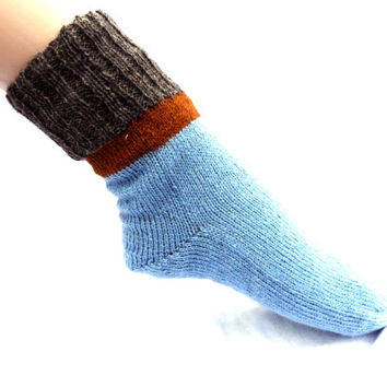 knitted wool socks knit colorful striped light blue grey brown stocking warm boot socks home athletic socks natural wool foot gear  clothing