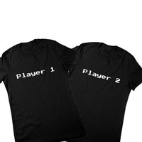 Video Game Shirt, Player 1 & 2 T Shirts, Couples Matching TShirt Set, Matching Shirts, Tees, Couples Shirts, Geeky, Ladies Women Plus Size