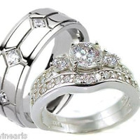 His & Hers 3 Piece Vintage Style Wedding Ring Set Sterling Silver & Titanium