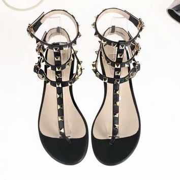 "Hot Sale ""Valentino"" Fashion Women Casual Leather Rivet Bandage Flat Sandals Shoe(8-Color) Black I-ALS-XZ"