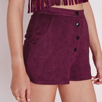 HIGH WAISTED FAUX SUEDE SHORTS BURGUNDY