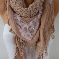 Milky brown Scarf Oversize Scarf Fall Winter Fashion Shawl Scarf Cowl Scarf Gift Ideas for Her Women Fashion Accessories Christmas Gift