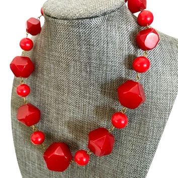 Art Deco Red Bakelite Bead Necklace Faceted Bakelite Beads Graduated Sizes Brass Wire C. 1920s - 1930s Statement Necklace Gift for Her