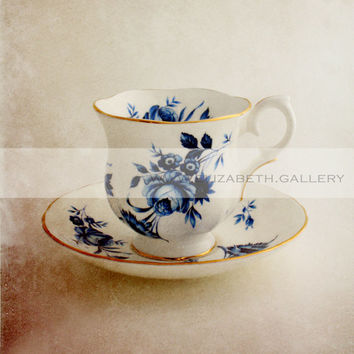 Tea Cup Photography 8x10 Wall Print - Blue and White Vintage Tea Cup Print