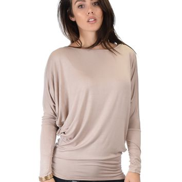 Lyss Loo Contemporary Long Sleeve Taupe Dolman Tunic Top
