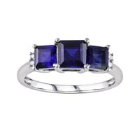 10k White Gold Lab-Created Sapphire & Diamond Accent 3-Stone Ring (Blue)