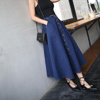 2017 Summer Woman Button Long Skirt Jeans A Line Casual Skirt With Pockets Women Jean Long High Waist