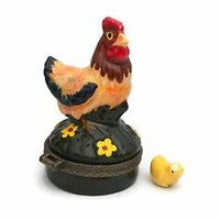 Porcelain Chicken Mother Hen Hinged Trinket Box with Tiny Yellow Chick Inside