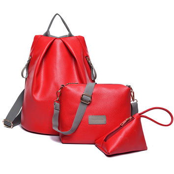 3Pcs/Set Mochila Feminina Leather Backpack+Shoulder Bag+Purse Fashion  Backpacks For Teenage Girls School Bags High Quality