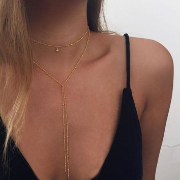 Simple Gold Silver Color Chain Choker Necklace Long Beads Tassel Chocker Necklaces For Women collar collier ras du cou