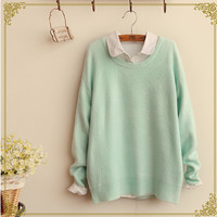 Japanese students sweet candy color knitting sweater