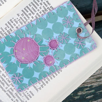 Turquoise Violet bookmark embroidery