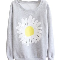 Mooncolour Women Chrysanthemum Pattern Crewnek Pullover Fleece Sweatshirt