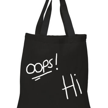 "One Direction / Harry Styles / Louis Tomlinson Tattoos ""Oops Hi"" 100% Cotton Tote Bag"