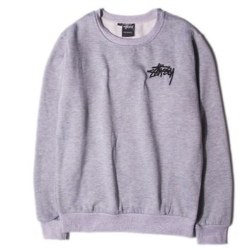 """Stussy"" girl Fashion long sleeve loose sweater Grey"