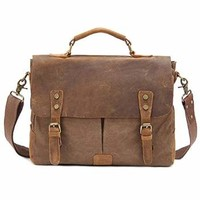 "Kattee Vintage Canvas + Real Leather Messenger Bag Tote, Fit 14"" Laptop (Gray)"