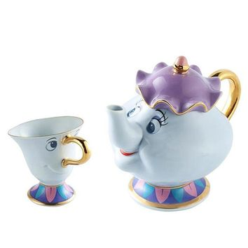New arrival Cartoon tea set 1 Pot+1 Cup,Beauty And Beast Tea Set Mrs Potts Teapot Chip Cup Sugar Bowl Pot Set Coffee Kettle