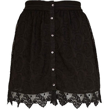 Black lace scallop hem skirt