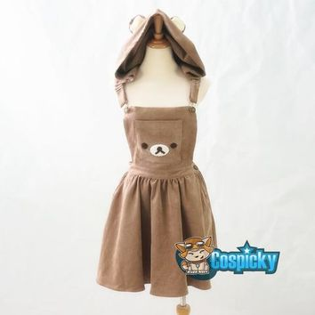 S/M Kawaii Bear Hoodie Suspender Dress CP154661