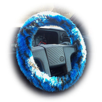 Blue and black Tiger stripe faux fur furry fluffy fuzzy car Steering wheel cover