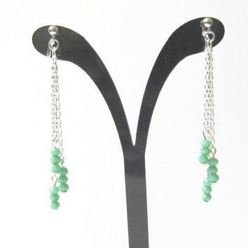 Sea Foam Green Cut Glass Tassel Earring D10S Fringe Earring Wedding Clip on earring Long Drop earring dangle earring invisible clip on