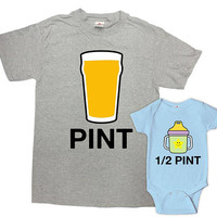 Matching Father Son Shirts Dad And Son Gift Daddy And Me Clothing Daddy And Son T Shirts Fathers Day Pint Half Pint Bodysuit - SA1021-1023