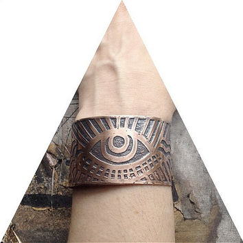 Etched Copper Cuff - Rising Eye Cuff - Hand drawn and deeply etched in my studio in Tx