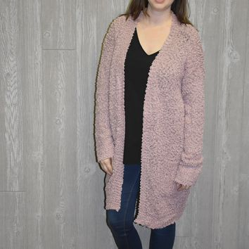 Touch of Winter Cardigan: Mauve