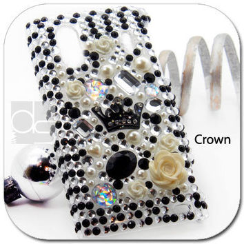 Sprint HTC EVO Design 4G BLING Case: Deco Rhinestone Diamond Crystal Hard Gems Back Skin Case Cover (Crown)