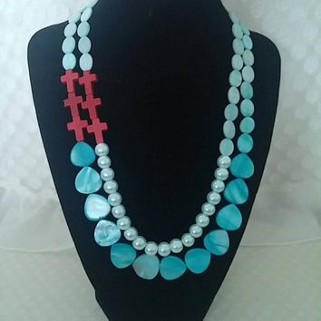 Red Crosses Turquoise Necklace- Strand Necklace- Bib Necklace- Beadwork Necklace- Beaded Necklace- Statement Necklace- Wedding Gifts Ideas
