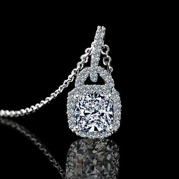 1CT Cushion Square Center Simulated Diamond - Diamond Veneer Double Bail Halo Pendant 635P25368