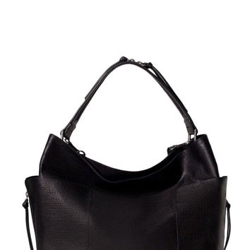 Black Faux Leather Handle Bucket Bag