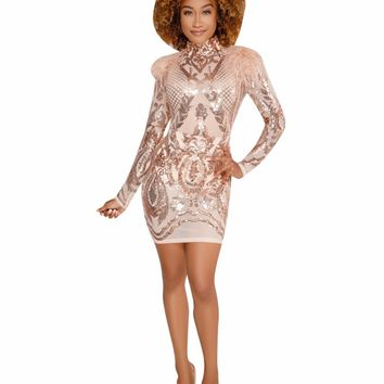 JRRY Sexy Turtleneck Hollow Out Bodycon Mini Sequin Dresses Hairy Shoulder Long Sleeve Sequinned Club Dress Vestidos