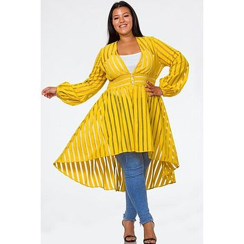 Shadow Stripe High Low Duster Top
