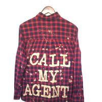 Call My Agent Shirt in Red Plaid Flannel