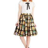 Bea & Dot Quirky Mid-length A-line Pretty as a Purr-trait Skirt