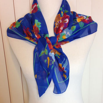 Vintage Royal Blue Scarf with Shades of Red, Yellow, and Blue Flowers