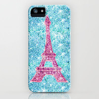 Bling Me!  Girly Pink Eiffel Tower, teal blue glitter photo print iPhone Case by Girly Trend | Society6