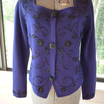 Purple Black Beaded Sweater Small Size Beaded Vine Design Deep Purple w/ Black Accent Beaded Buttons Vintage 80's Square Neck Cardigan