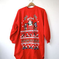 STOREWIDE SALE... 80s panda bear xmas sweatshirt. ugly Christmas sweatshirt. christmas sweater dress.