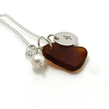 Personalized Chocolate Brown Sea Glass Necklace
