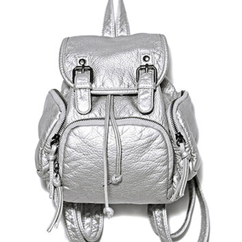 Silver Washed Faux Buckle Detail Backpack