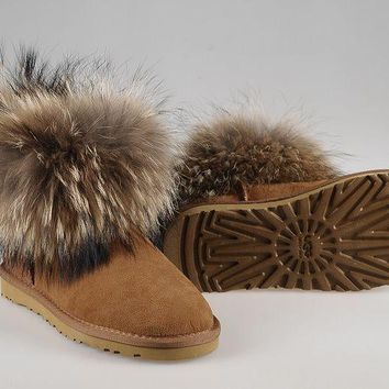 ESBON UGG Fox Women Fashion Casual Wool Winter Snow Boots Chestnut